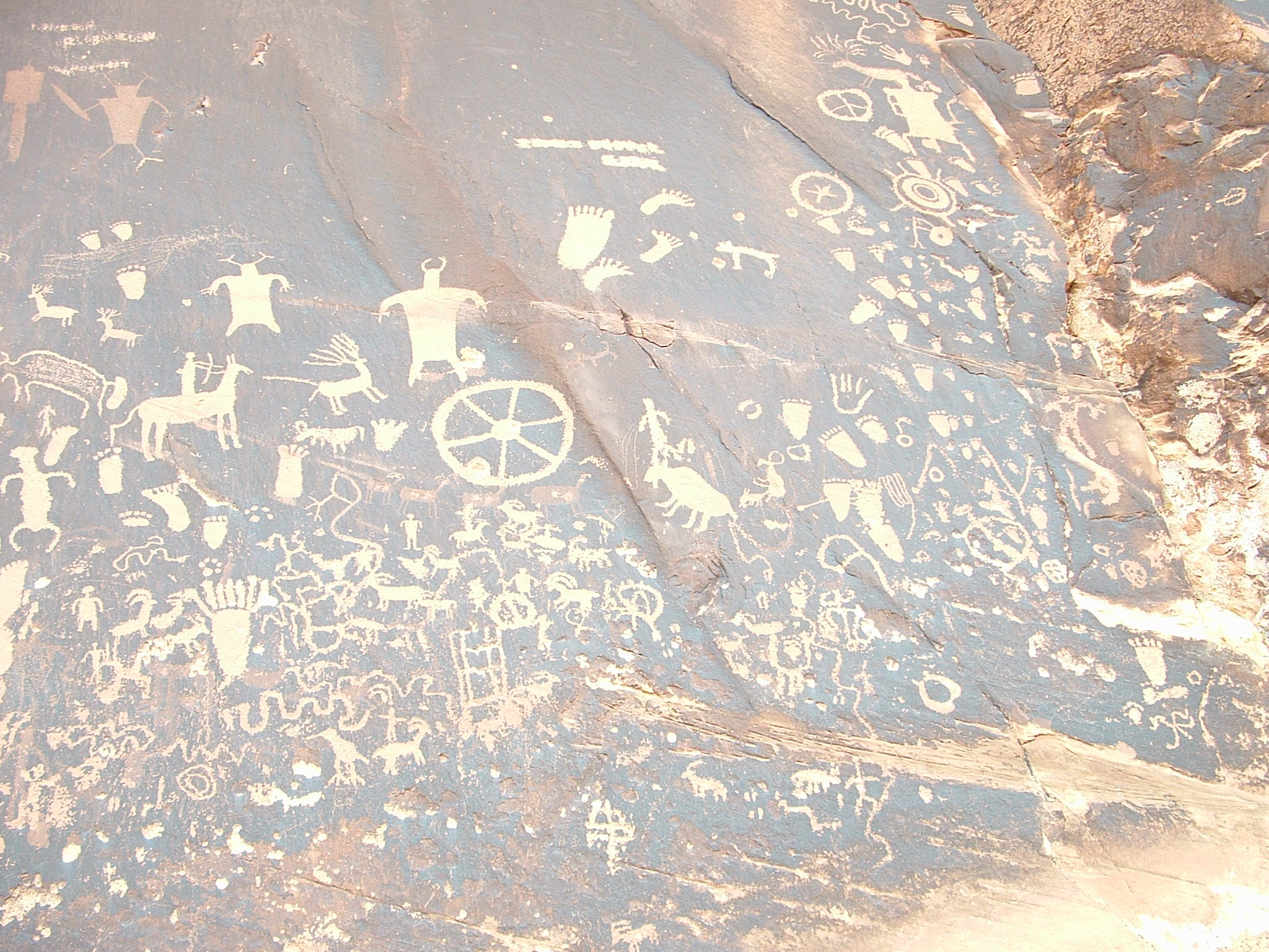 Rock wall with petroglyphs etched into its surface.