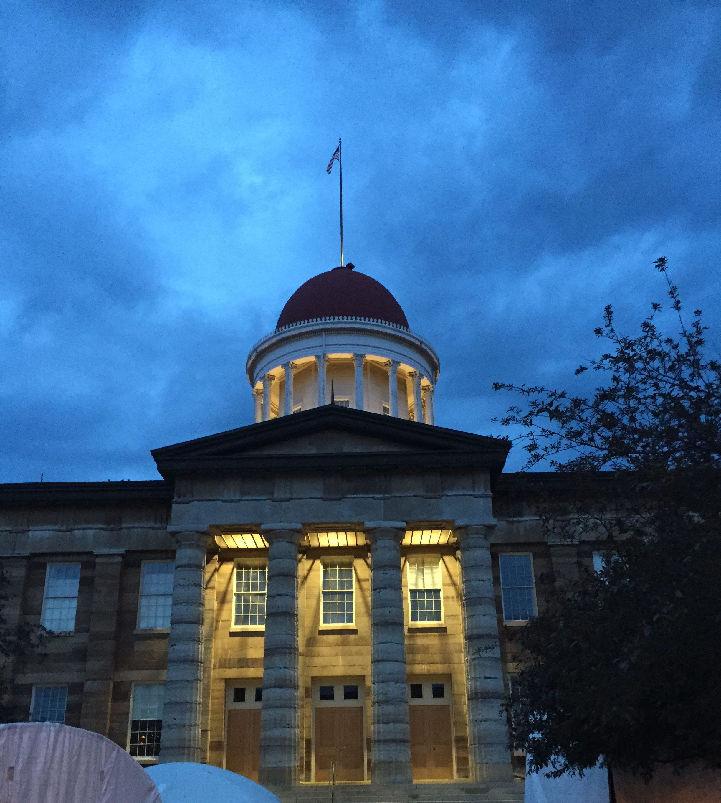Night time photo of historic capitol building