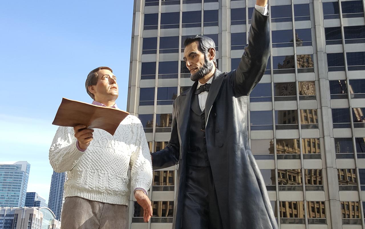 Sculpture of two men