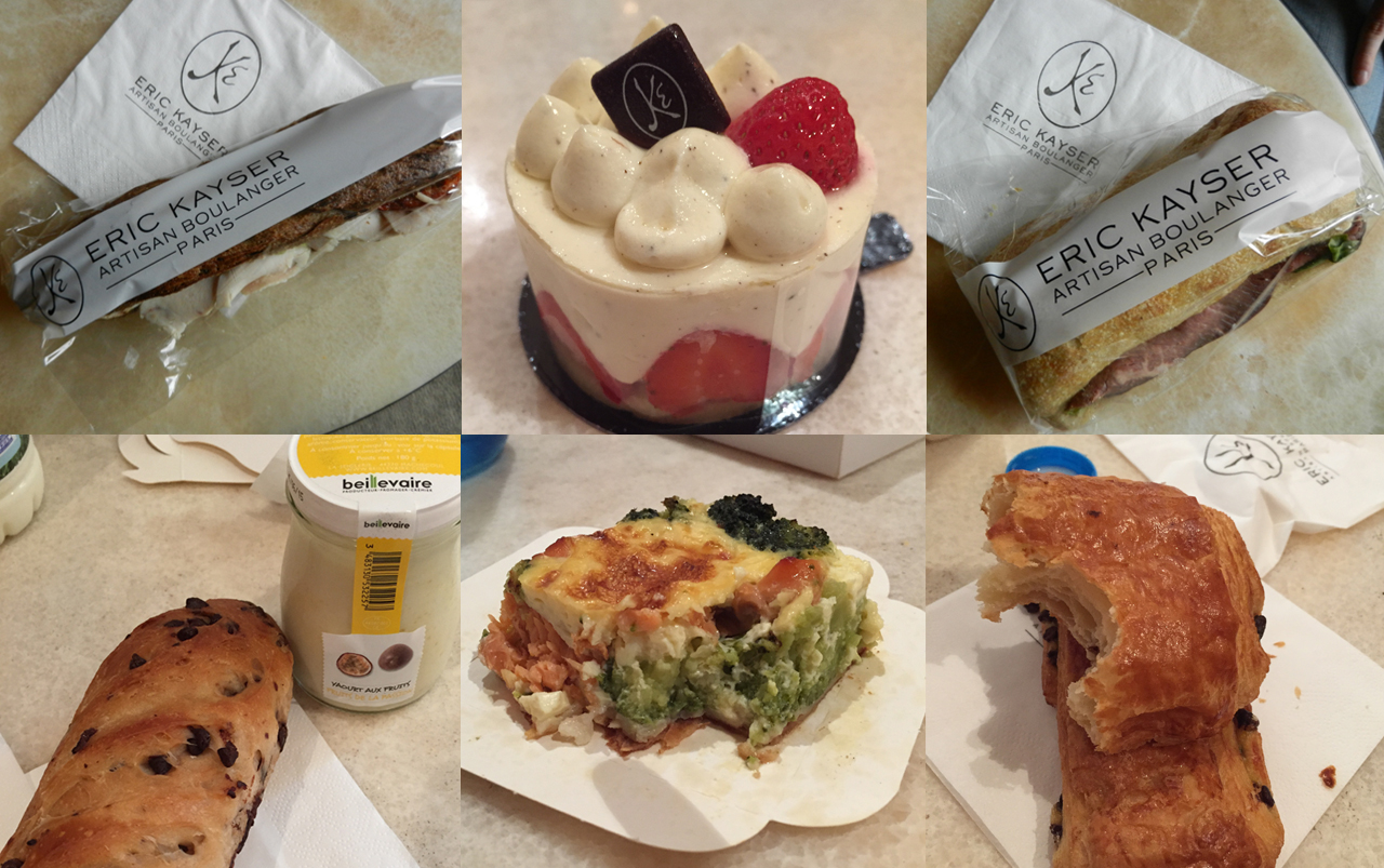 Grid of six photos including two sandwiches, three pastries, and one quiche.