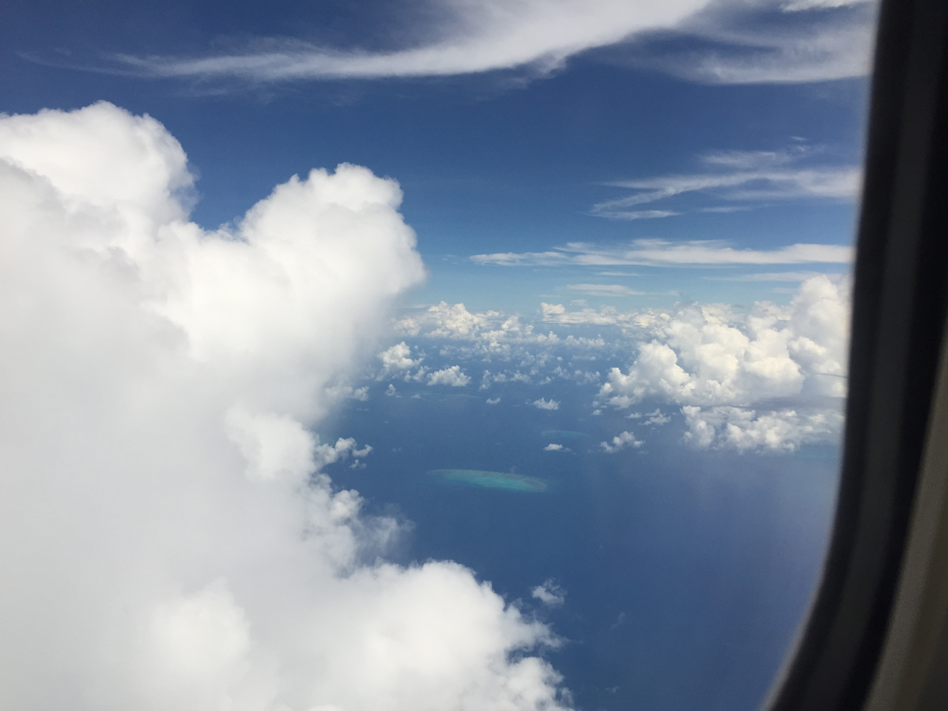 Photo from airplane window over the Great Barrier Reef.
