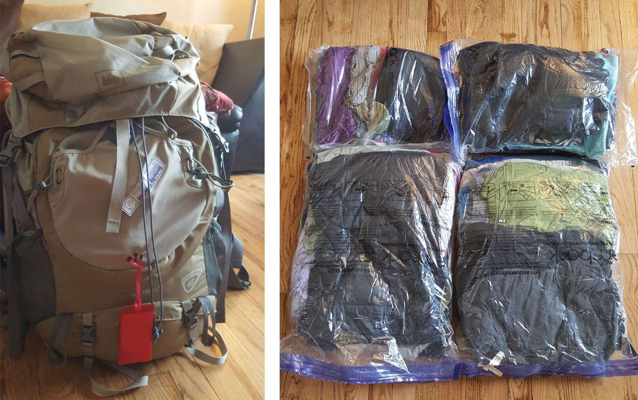 Large tan backpack on the left, unpacked space saver bags with clothes in them on the right.