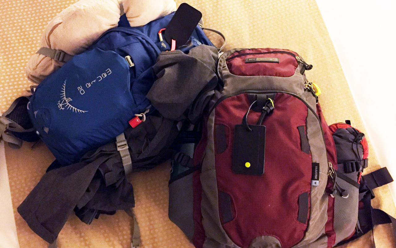 Two backpacks laying on a bed. A small, blue daypack on the left and a bigger, maroon backpack on the right.