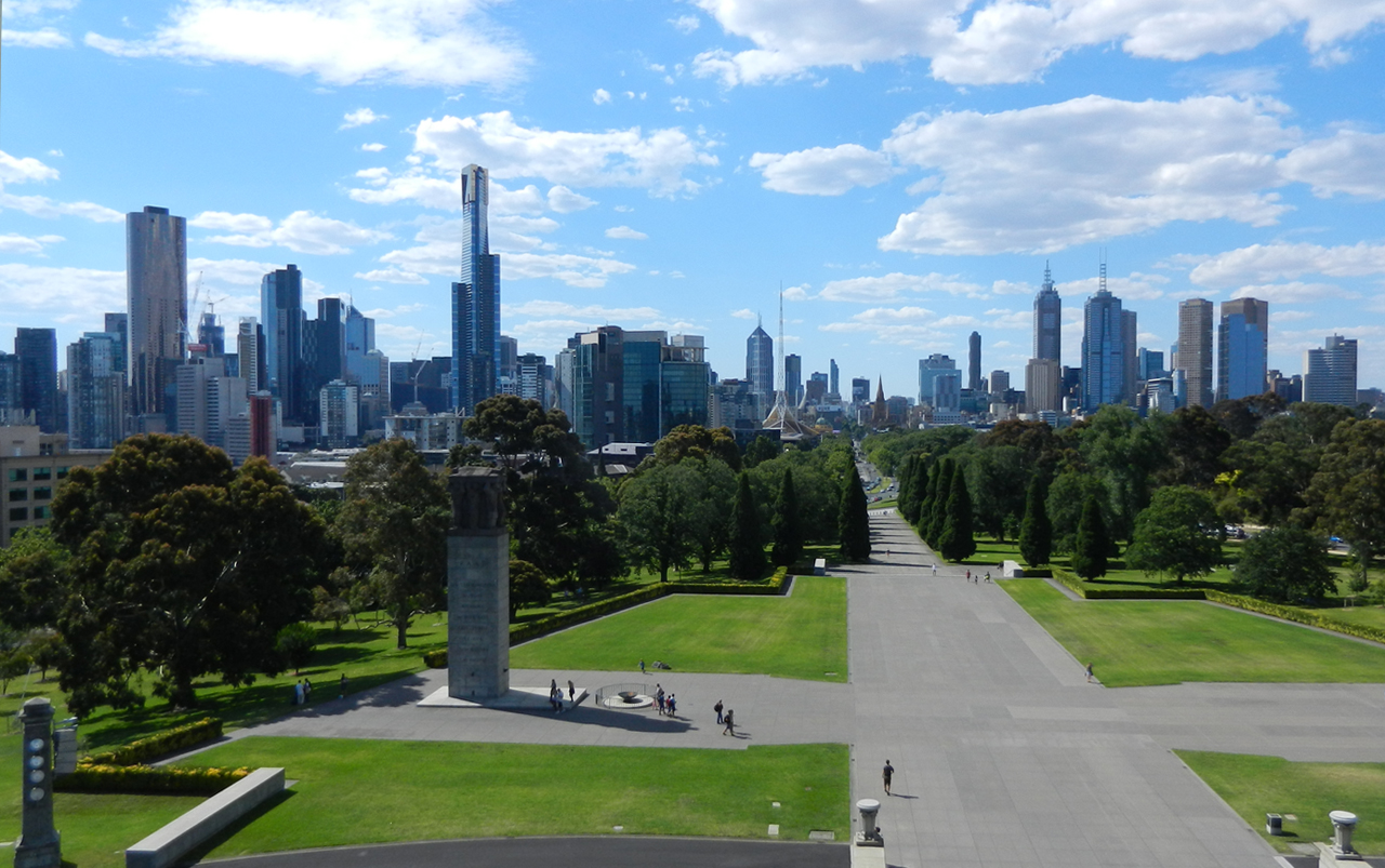 Photo of Melbourne, Australia skyline in the distance.