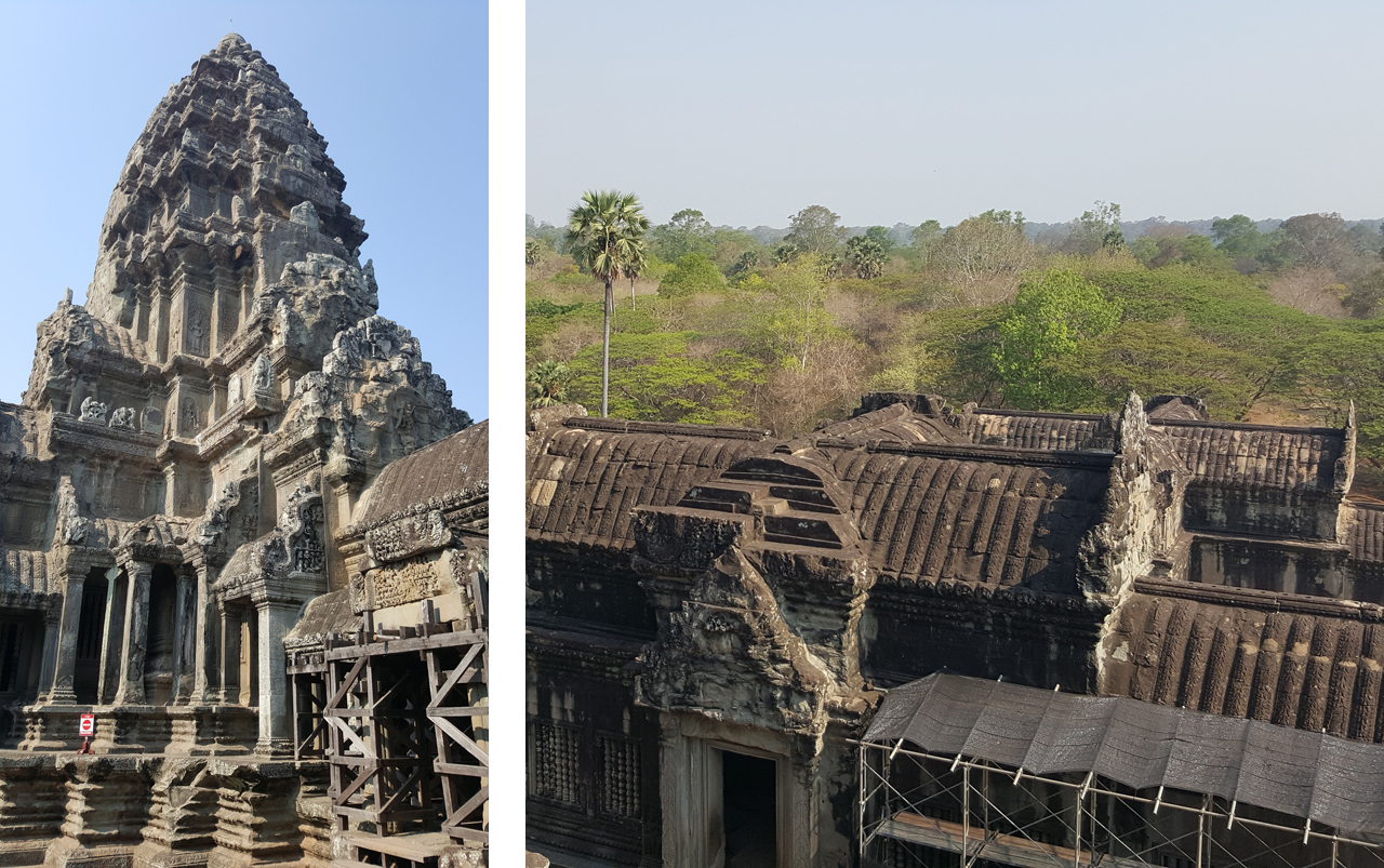 Vertical photo on the left of temple structure against blue sky and horizontal photo on the right of temple walls in the foreground with green trees and blue sky in the background.