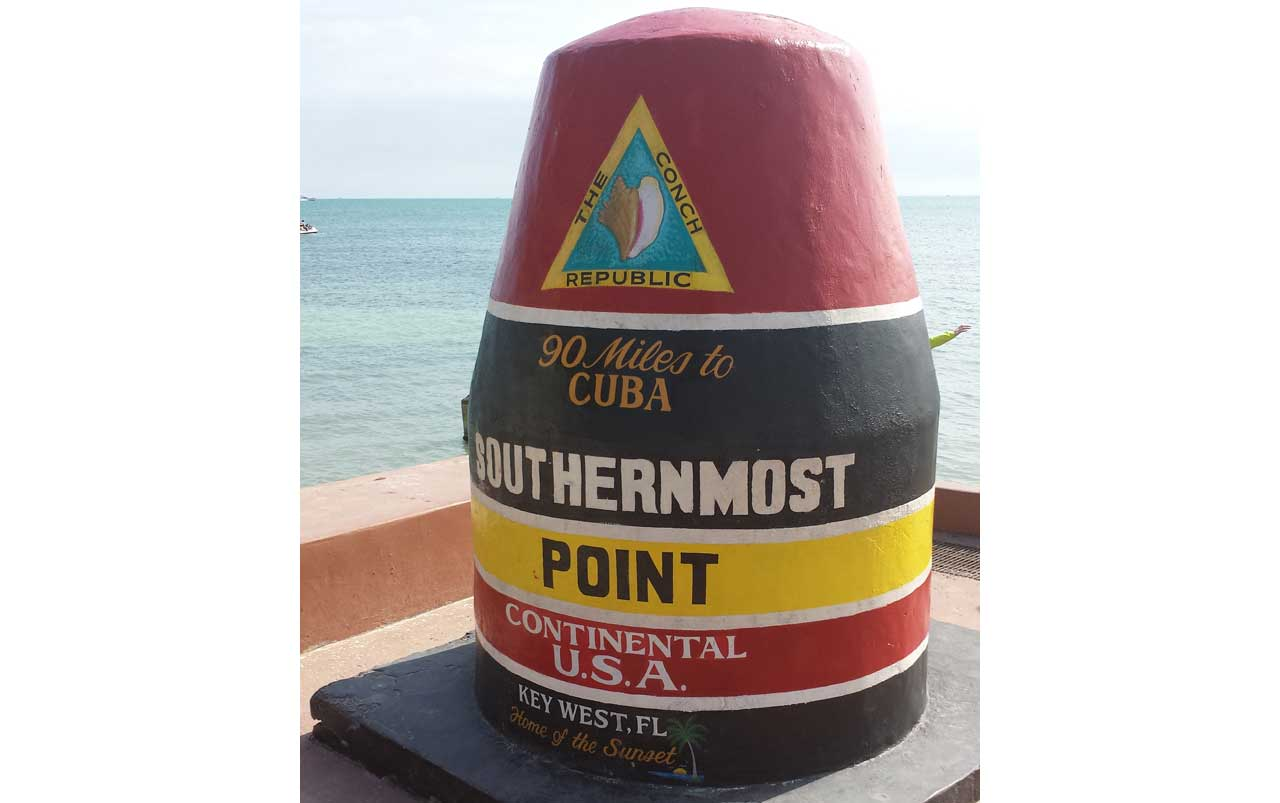 Concrete monument painted to mark the Southernmost Point in the Continental U.S.A.