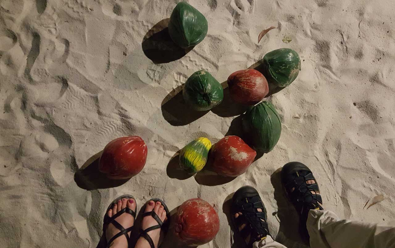 Woman's feet on the left wearing black sandals, man's feet on the right wearing dark blue sandals standing on sand surrounded by coconuts that are painted red, green, and yellow.