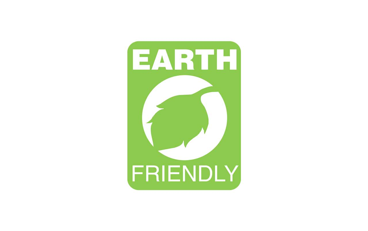 Illustration of a vertical green rectangle with rounded corners encompassing the words Earth Friendly and a circle with a leaf in the middle, all in white.