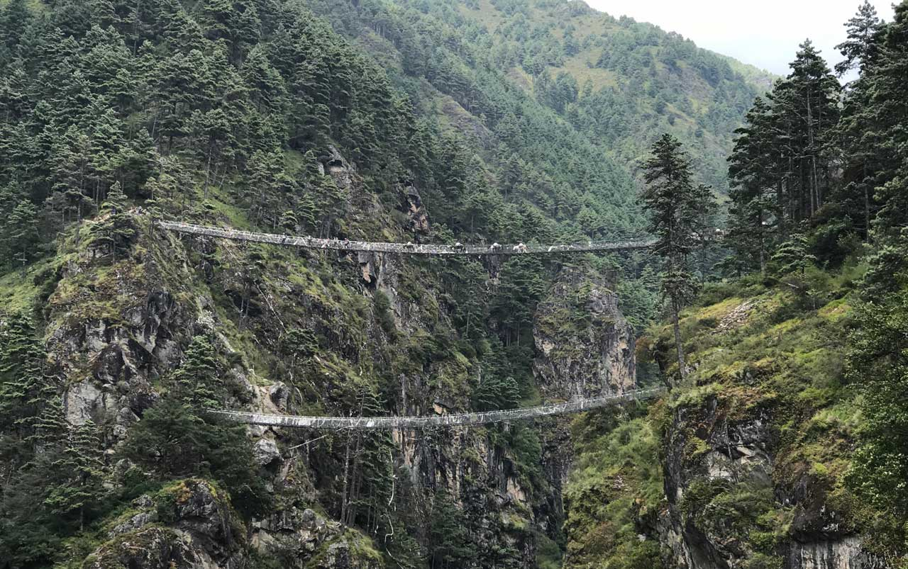 Two suspension bridges spanning across a wide valley surrounded by trees and green foliage.